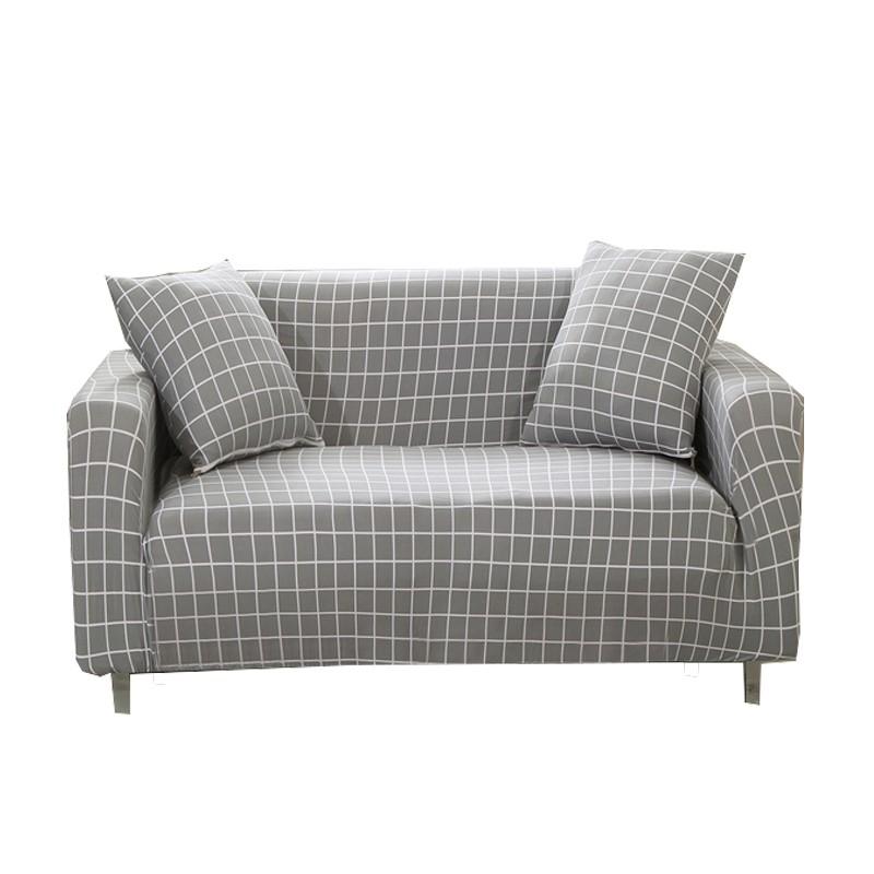 [送枕套壓條] 沙發套單人雙人三人四人座 簡約灰色格子圖案尺寸沙發套轉角沙發組合沙發L型沙發通用沙發套