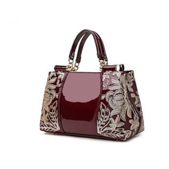 女性のショルダーバッグ本革のジッパーのハンドバッグ (Color : ワインレッド)