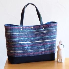 秋のミックスカラー手織り布のトートバッグ(ブルー)