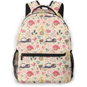 猫と花柄 リュック バックパック 子供 キッズ バッグ パソコン ポケットデイパック 大容量 防水 アウトドア 軽量 低学年 通学 遠足 通勤 旅行 男女兼用 快適 ビジネスリュック