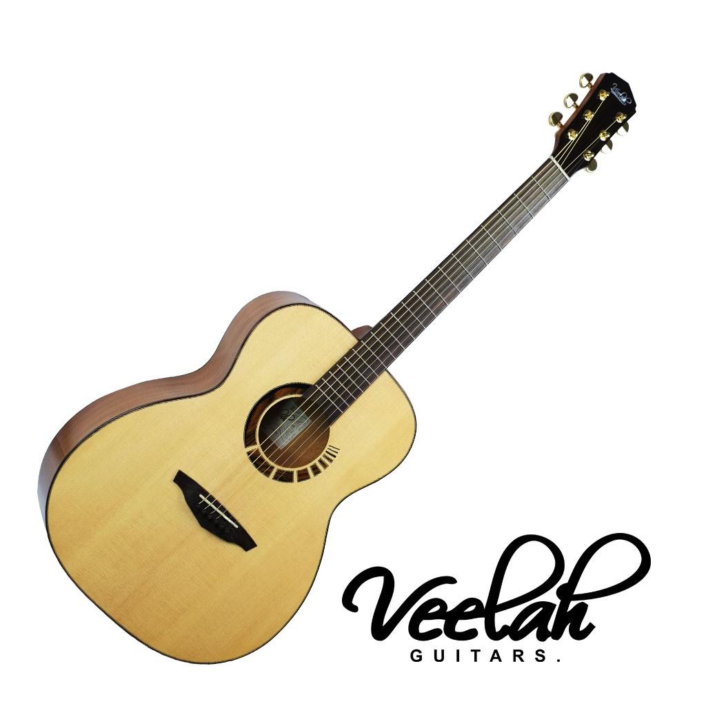 Veelah V7 BAS OM民謠吉他40吋 全單 雲杉面板 桃花心背側 - 【黃石樂器】