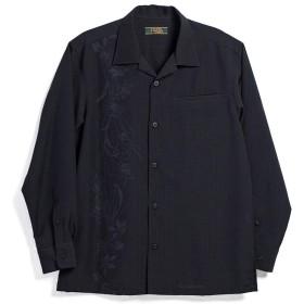 [MAJUN (マジュン)] 国産シャツ かりゆしウェア アロハシャツ 結婚式 メンズ 長袖シャツ 開襟 幾何百合(長袖開襟) ブラック M