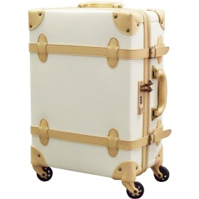 FIELDOOR ヴィンテージ風 トラベルキャリーケース スーツケース Sサイズ 機内持込可 (アイボリー) 【ファスナータイプ】