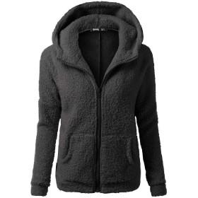 Romancly 女性ジップアッププラスサイズのフロントオープンアウトウェアぬいぐるみスウェットシャツジャケット Black XL