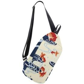 ボディバッグ 浮世絵 金魚 波柄 斜めがけ ワンショルダー 防水 おしゃれ 人気 軽量 旅行用 ビジネス 通勤 通学 アウトドア 男女兼用