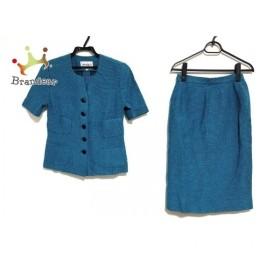 ジュンアシダ JUN ASHIDA スカートスーツ サイズ9 M レディース 美品 ブルー×黒 新着 20190809