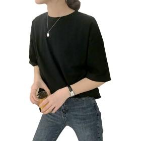 [コウエイストア]koeistore Tシャツ ビッグサイズ 無地 半袖 プルオーバー レディース Y3053-bk ブラック