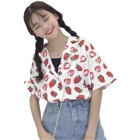 [ジャンーウェ] レディース アロハシャツ ハワイシャツ プリント おしゃれ いちご柄 半袖 襟付き ゆったり ホワイト