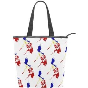 トートバッグ おしゃれ フィリピン フィリピンの画像 フィリピン地図 フィリピンの国旗の色 ハンドバッグ キャンバスバッグ 人気 可愛い 帆布 カジュアル [並行輸入品]