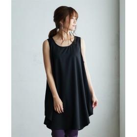 【ゆったりワンサイズ】ノースリーブチュニックブラウス (ブラウス),Blouses, Shirts