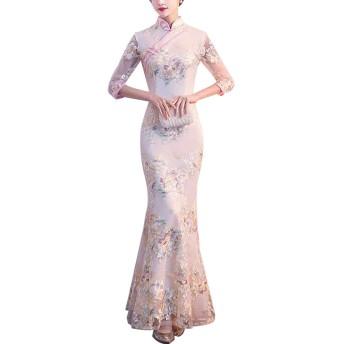 ドレス レディース レース ワンピース ロング 刺繍 フレア すけ セクシー チャイナドレス 結婚式 パーティー (S, マーメイド)