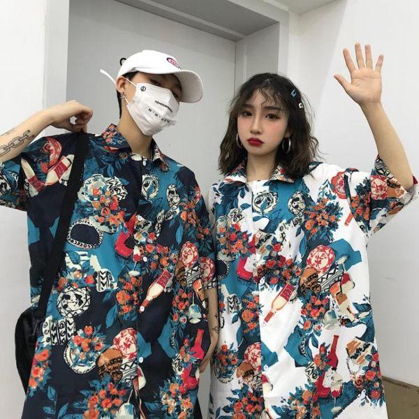 夏威夷花襯衫復古港風沙灘旅游衣服春夏男海邊度假情侶五分袖襯衫