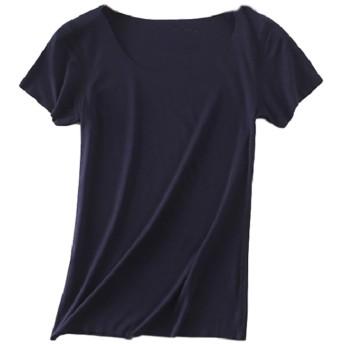 [PEACE LAND(ピースランド)] シームレス Tーシャツ エフォートレス 縫い目なし 下着 ボートネック シンプル 無地 綿 レディース 紺 2XL