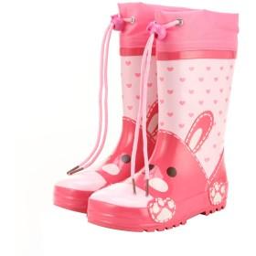 [EIMEI] レインブーツ ジュニア キッズ 女の子 男の子 子供靴 男女兼用 長靴 雨靴 可愛い (29(内寸19cm), ピンク・ウサギ)
