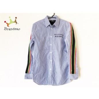 ディーゼル DIESEL 長袖シャツ サイズXS メンズ 美品 ブルー×白×黒 ストライプ 新着 20190809