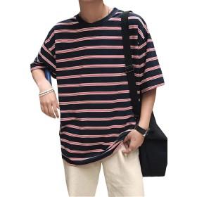 [BSCOOL]メンズ Tシャツ 半袖 ボーダー tシャツ クルーネック ゆったり ティーシャツ ユニセックス ファッション カットソー カジュアル 男女兼用 ビックtシャツ 夏(B黒)