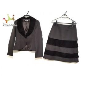 ヒロコビス HIROKO BIS スカートスーツ サイズ9 M レディース 美品 ダークブラウン ベロア 新着 20190809