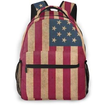 リュック アメリカ 国旗 星条旗 レトロ風 バックパック リュックサック 大容量 軽量 耐久性 アウトドア 学生 通学 外出 男女兼用