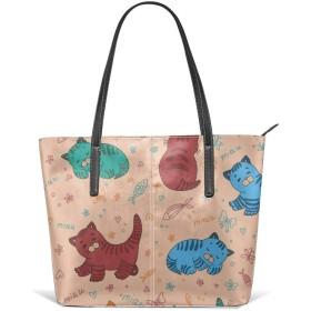 かわいい猫 トートバッグ ハンドバッグ PUレザー A4サイズ PC対応 カバン 大容量 軽量 撥水 通勤 旅行 男女兼用
