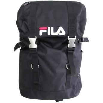 [フィラ]  FILA スクエア リュック 背面ポケット サイドポケット サイドファスナー フラップ 黒
