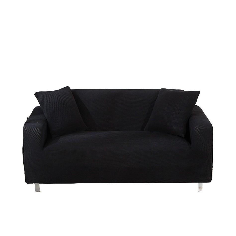 [送枕套壓條] 黑色防髒可水洗萬能彈力沙發套 玉米絨全包款沙發巾 轉角沙發組合沙發L型沙發套 單人雙人三人四人座尺寸