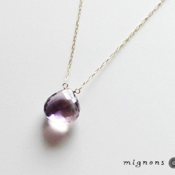 【K10】宝石質アメトリン一粒ネックレス(マクロカット)