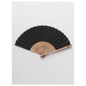 【カヤ】紳士用 丸青海波扇子 袋付き ブラック