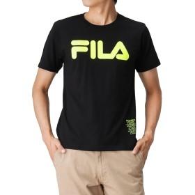 FILA(フィラ) 蛍光ロゴプリントTシャツ FH7324 メンズ ブラック:XL