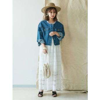 【ラグナムーン/LAGUNAMOON】 カギ編みレースワンピース