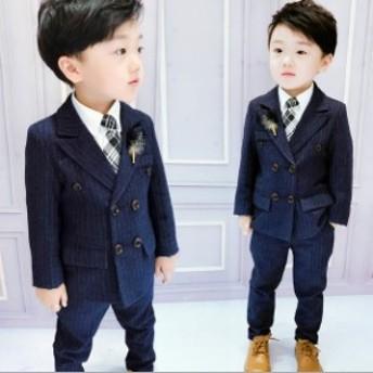 子供スーツ 2点セット 紳士服 七五三 子供 スーツ ストライブ 英国風 スーツ セットアップ フォーマルスーツ キッズスーツ 卒業式 入園