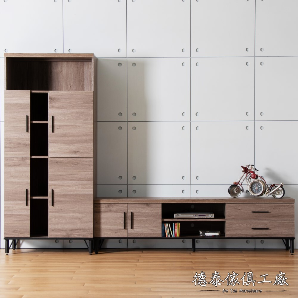 D&T 德泰傢俱 BROOK淺胡桃木8.7尺L電視櫃+收納櫃(433) B001-426-A