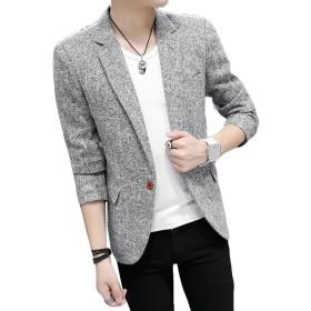 (ニカ) メンズ ジャケット おしゃれ スーツ ファッション コート メンズ 春 夏 秋 上着 無地 カジュアル メンズ スーツグレーT1