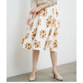 【ROPE' PICNIC:スカート】【WEB限定40サイズ】【着丈が選べる】フラワープリントタックスカート