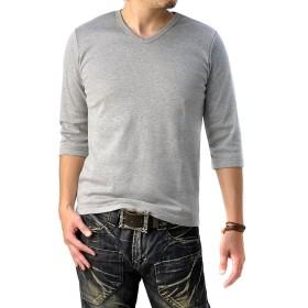(フラグオンクルー) FLAG ON CREW Vネック 7分袖 Tシャツ メンズ カットソー ストレッチフライス / E1C / M mixgray・杢グレー
