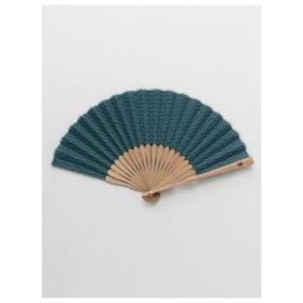 【カヤ】紳士用 丸青海波扇子 袋付き ブルー