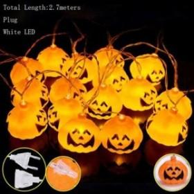 1ピース/ロット 装飾カボチャ LEDストリングプラグとバッテリーライト16ピースヘッド2.7メー White and Plug