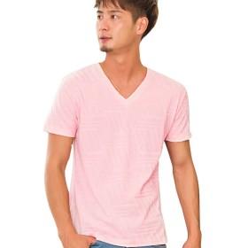 (キャバリア)CavariA メンズ 幾何学柄 リンクス Vネック 半袖 Tシャツ (カットソー ストレッチ) 46(L) 30(PINK/ピンク)