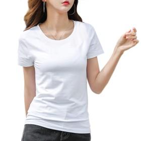 [ジンジンW] カジュアルTシャツ スポッツランニングウェア 吸湿 快適 フィットコットンTシャツ Vネック クールネック2タイプ [ホワイト]L