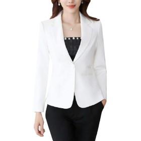 Kankanluck 女性スリムフィットワークオフィスショートブレザービジネスウェルトジャケット White M
