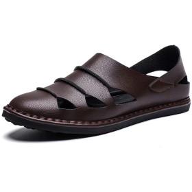 [eleitchtee] レザーサンダル スリッポン メンズ 革 靴 大きいサイズ 踵踏める(28.5cm コーヒー)