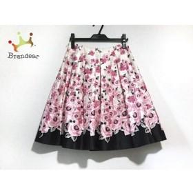 フランコフェラーロ スカート サイズ3 L レディース 美品 白×ピンク×黒 花柄/プリーツ 新着 20190809