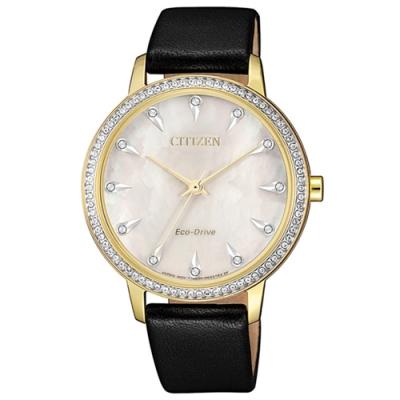 CITIZEN 星辰 光動能 閃耀晶鑽真皮手錶-珍珠貝X黑/36mm FE7042-07D
