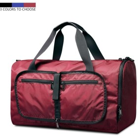 トラベルバッグ ボストンバッグ ナイロン素材 スポーツバッグ 旅行バッグ 軽量 折り畳み ジムバッグ 19kgまで耐重 大容量 旅行 ジム アウトドア (レッド)