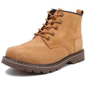 [Azooken] マーチンブーツ ワーク レースアップ シューズ ショート 靴 ハイカット スエード 防滑 登山 通勤 カジュアル アウトドア 作業靴 メンズ (LBN-043)