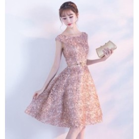 レディース ワンピース ドレス パーティードレス Aライン 半袖 ボートネック 花びら ピンク ボリューム 売れ筋 人気 華やか