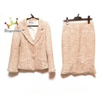 シャネル スカートスーツ サイズ38 M レディース P26000/P26005 ピンク×ライトグリーン×白 新着 20190809
