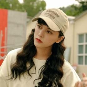 ロゴ刺繍 キャップ ベースボールキャップ コットン キャンバス 野球帽 布 CAP キャップ 帽子 トレンド かわいい ナチュラル  日よけ 日焼