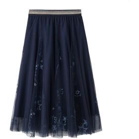レディース スカート 星柄 お嬢様 スカート ふわふわ 韓国 可愛い 美脚 セクシー ガーゼ スカート 体型カバー エレガント フィットする 通勤