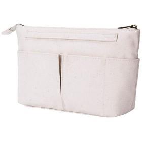 APSOONSELL 北欧 可愛い バッグインバッグ 帆布 財布 横型 バックインバック レディース かわいい 小物入れ ベージュ