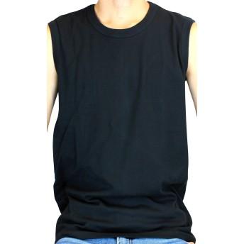 ノースリーブ メンズ シャツ 丸首 クルーネック 無地 Tシャツ (ブラック M)